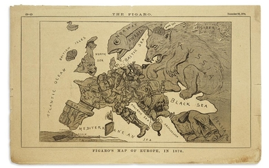 (SERIO COMIC MAP.) Figaro's Map of Europe, in 1876.