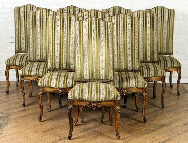 SET 10 FRENCH CARVED GILT WOOD DINING CHAIRS