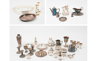 Set of white or silver plated metal shapes or platerie, including sauce boats, potpourri dishes, free-standing liquor glasses, salt shakers, pourers, creamers, free-standing bowls, vases, sugar bowls, egg cups, torches, tea strainer, bunks, coasters...
