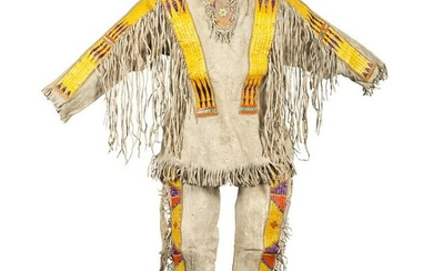 Sioux Quilled Hide Shirt and Leggings, Collected by