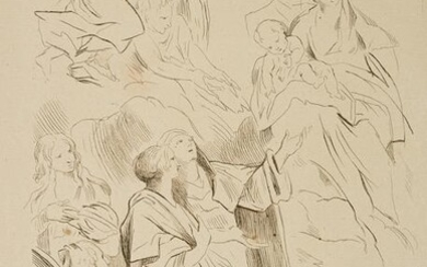 Sketch with biblical motifs and antique figures, c.