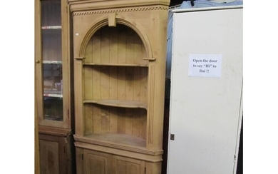 Solid Pine Corner Cabinet with Shelves Over Double Cupboard.