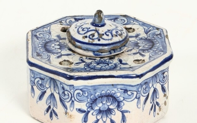[Stationery]. Inkwell, Late 18th cent. Delftware, octagonal, with...