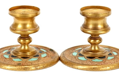 TIFFANY FURNACES DORE BRONZE & ENAMEL CANDLESTICKS