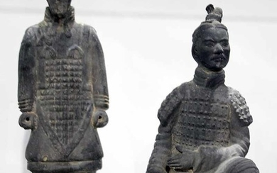 TWO CHINESE TERRACOTTA WARRIOR FIGURES