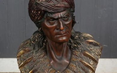 Terracotta Portrait Bust of Native American Chief