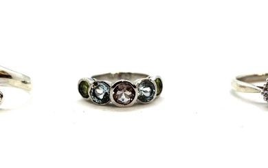 Three 925 silver stone set rings.