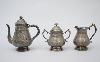 Three-piece silver set, oriental work (*) (18cm)