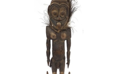 Tribal Sepik River painted wood male ancestor figure from Pa...