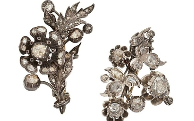 Two 19th century rose-cut diamond brooches, of...