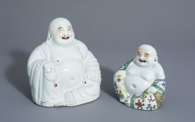 Two Chinese white, iron red, gilt and famille...
