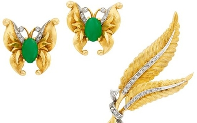 Two-Color Gold and Diamond Leaf Brooch and Pair of Gold, Jade and Diamond Butterfly Earclips