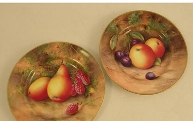 Two Royal Worcester side plates, decorated with fruit by Tow...