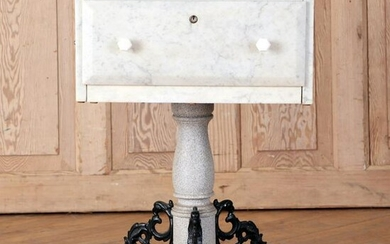 UNUSUAL 19TH C. FRENCH MARBLE ONE DRAWER TABLE