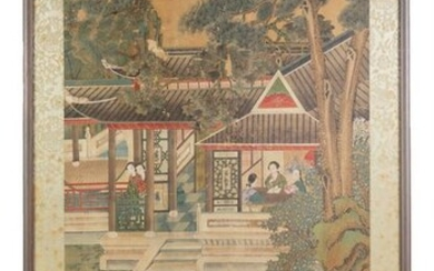 Unsigned Chinese Painting of Women in Garden