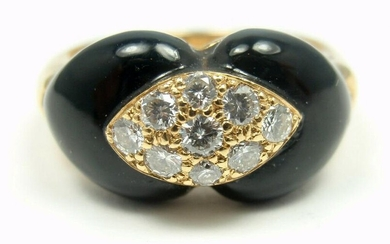 VAN CLEEF & ARPELS VCA 18K GOLD DIAMOND BLACK ONYX RING