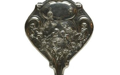 Victorian Sterling Hand Mirror with Cherubs by Kerr