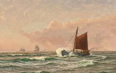 Vilhelm Arnesen: Seascape with a fishing vessel and sailing ships in evening light. Signed and dated Vilh. Arnesen 1930. Oil on canvas. 72×98.5 cm.