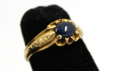 Vintage 18K Yellow Gold And Sapphire Cabochon Ring