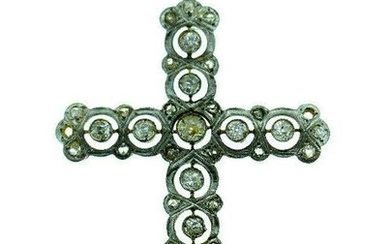 Vintage 18k White Yellow Gold Filigree Diamond Cross