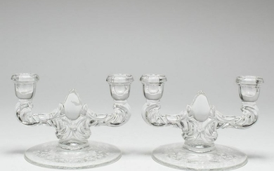 Vintage Pressed Glass Candlesticks, Pair