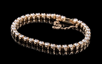 Yellow Gold and Diamond Tennis Bracelet