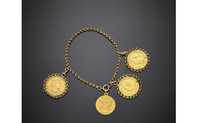 Yellow gold chain bracelet with three coin and one medal...