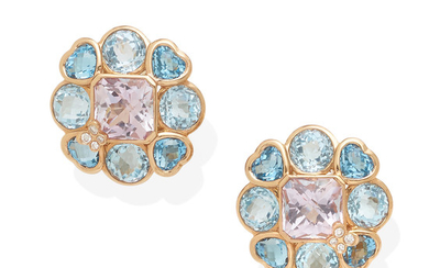 a pair of 18k rose gold, blue topaz and amethyst ear clips