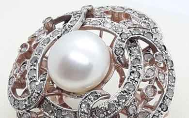 14 kt. Freshwater pearl, Pink gold, Silver - Ring - 2.70 ct Diamond