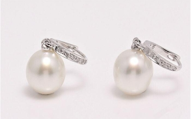 14 kt. White Gold - 9x10mm South Sea Pearl Drops