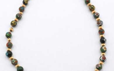 14Kt Yellow Gold & Cloisonne Beaded Necklace