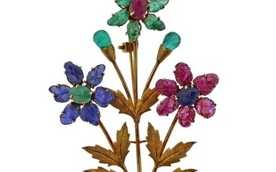14k Gold Carved Emerald Ruby Sapphire Flower Brooch Pin