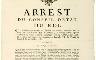 """1766. PROVENCE. (MANUFACTURES COTTON FABRICS. CUSTOMS). """"Arrest of the Council of State of the King, of March 14, 1766, which orders that all the Cotton Fabrics, known under the name of COTTON VELOURS, & of all other species of Cotton, will be..."""