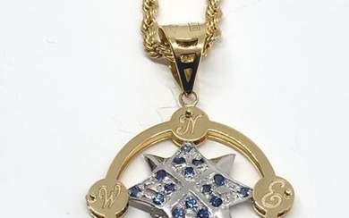 18 kt. White gold, Yellow gold - Necklace with pendant Sapphire - Sapphires