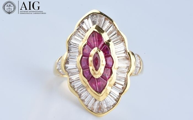 18 kt. Yellow gold - Ring - 1.54 ct Diamond - Ruby