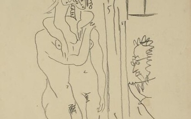1954 Pablo Picasso Two Nudes Pencil Drawing