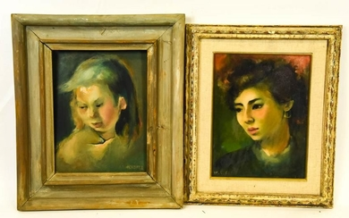 2 M Caldwell Mid Century Portrait Oil Paintings