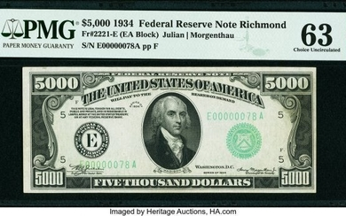 20093: Fr. 2221-E $5,000 1934 Federal Reserve Note. PMG