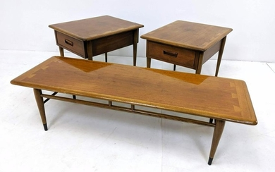 3pc LANE Coffee Table and Side Tables. American Modern