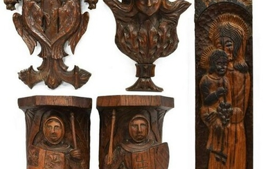 (5) CARVED ANTIQUE FRENCH ARCHITECTURAL ELEMENTS