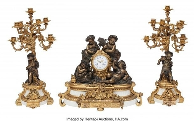 61093: A Three-Piece French Gilt and Patinated Bronze F