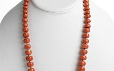 63 Cerasuolo coral (Corallium Elatius) graduated faceted beads necklace, low...