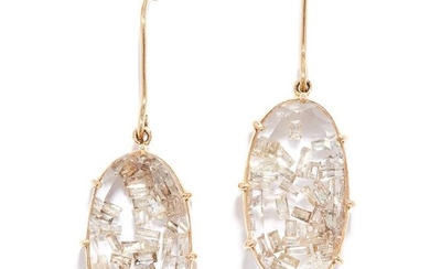 DIAMOND AND ROCK CRYSTAL EARRINGS in yellow gold