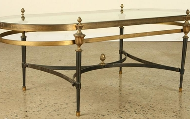 FRENCH 2 TONE GLASS COFFEE TABLE JANSEN 1960