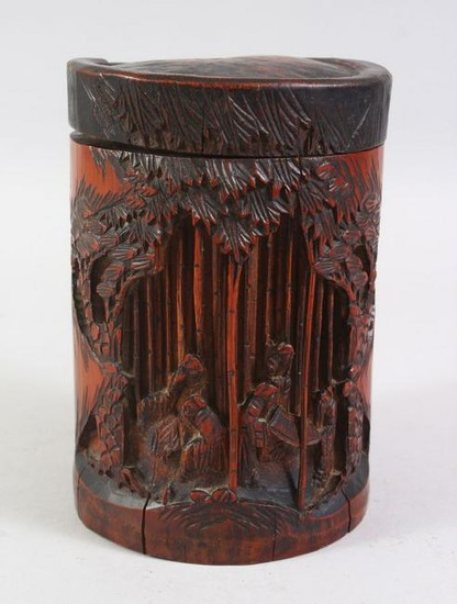 A 19TH / 20TH CENTURY CHINESE CARVED BAMBOO BRUSH POT