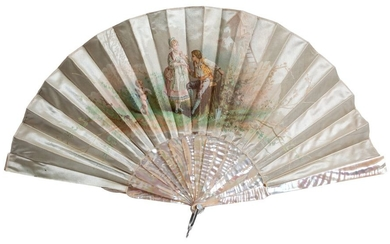 A 19th-Century silk fan with mother-of-pearl sticks and...