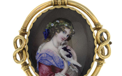 A 19th century Continental gold painted brooch.