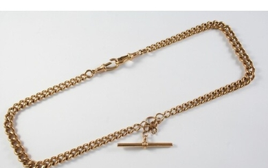 A 9CT GOLD CURB LINK WATCH CHAIN each link stamped 9 375, su...