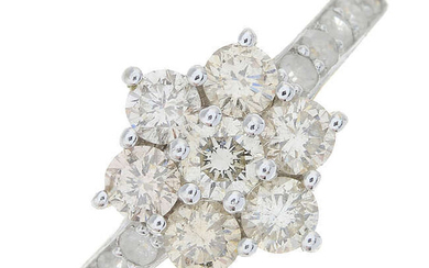A 9ct gold brilliant-cut diamond cluster ring.