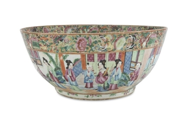 A BIG CHINESE POLYCHROME ENAMELED PORCELAIN BOWL EARLY 19TH CENTURY.